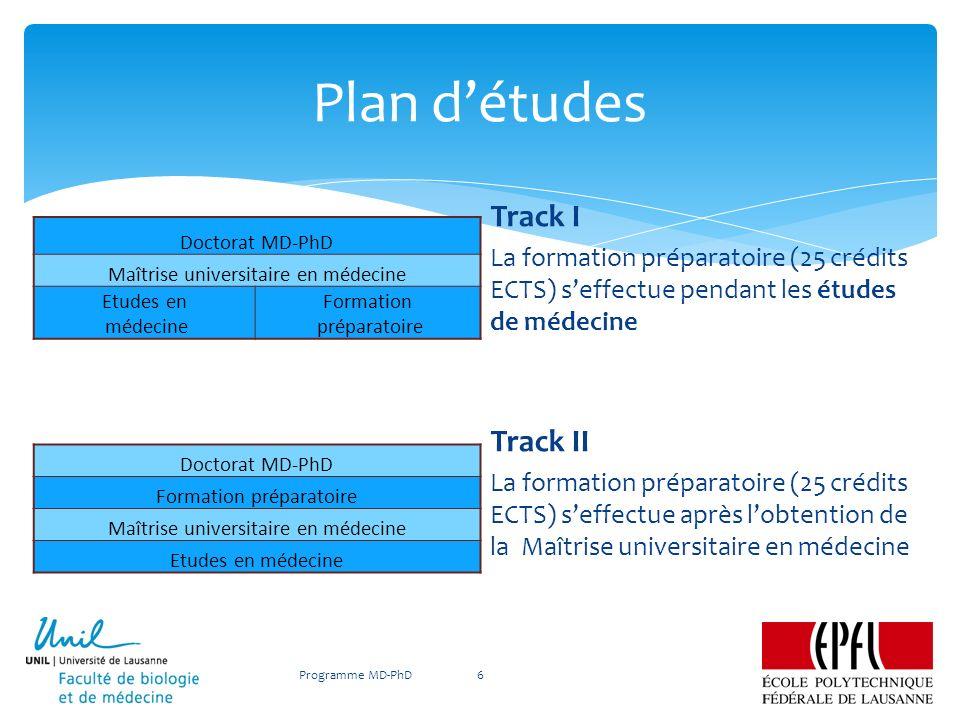 Plan d'études Track I Track II