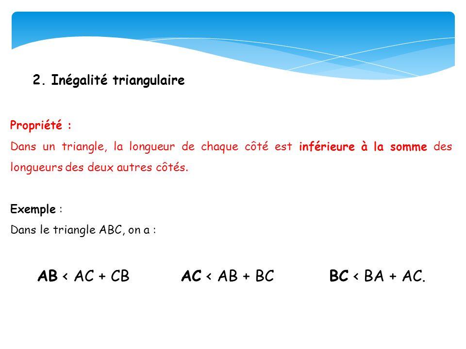 AB < AC + CB AC < AB + BC BC < BA + AC.