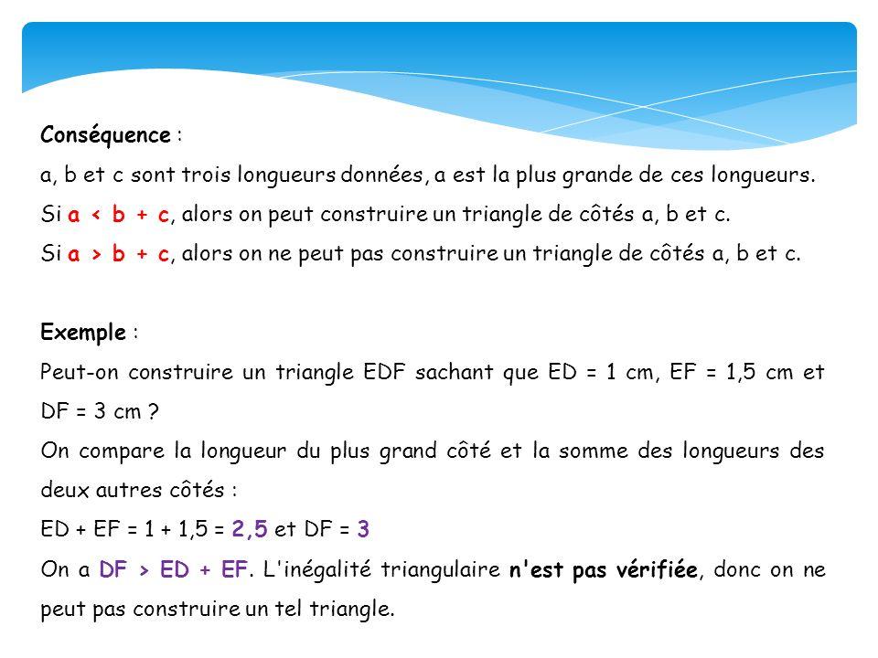 Conséquence : a, b et c sont trois longueurs données, a est la plus grande de ces longueurs.