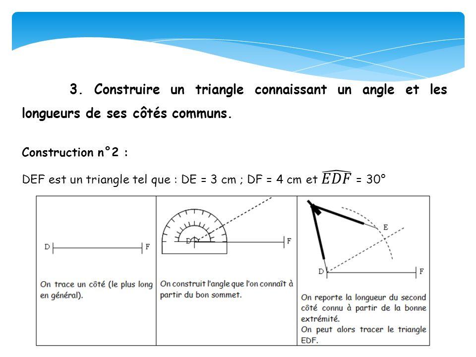 3. Construire un triangle connaissant un angle et les longueurs de ses côtés communs.