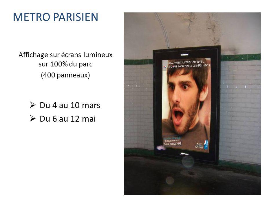 Affichage sur écrans lumineux sur 100% du parc