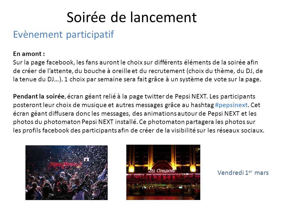 Soirée de lancement Evènement participatif En amont :