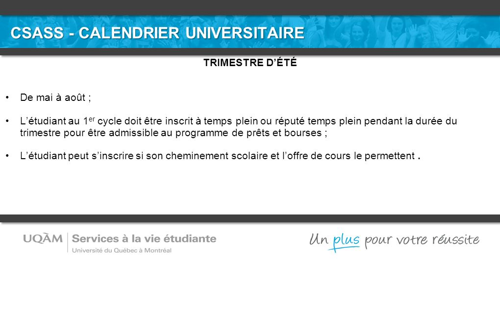 CSASS - CALENDRIER UNIVERSITAIRE
