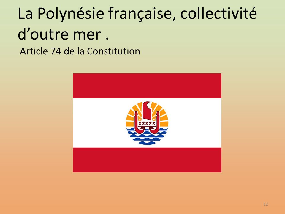 La Polynésie française, collectivité d'outre mer