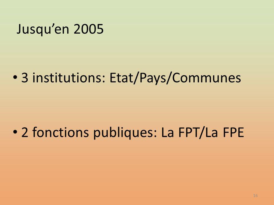 3 institutions: Etat/Pays/Communes