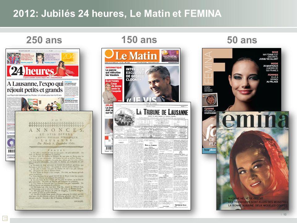 2012: Jubilés 24 heures, Le Matin et FEMINA