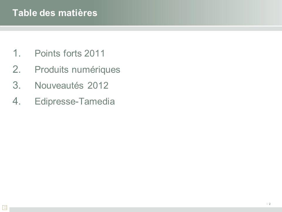 Table des matières Points forts 2011 Produits numériques Nouveautés 2012 Edipresse-Tamedia