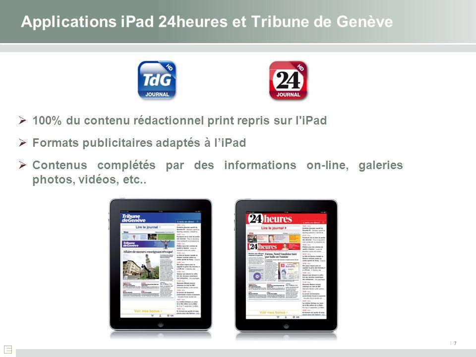 Applications iPad 24heures et Tribune de Genève
