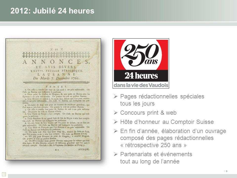 2012: Jubilé 24 heures Pages rédactionnelles spéciales tous les jours