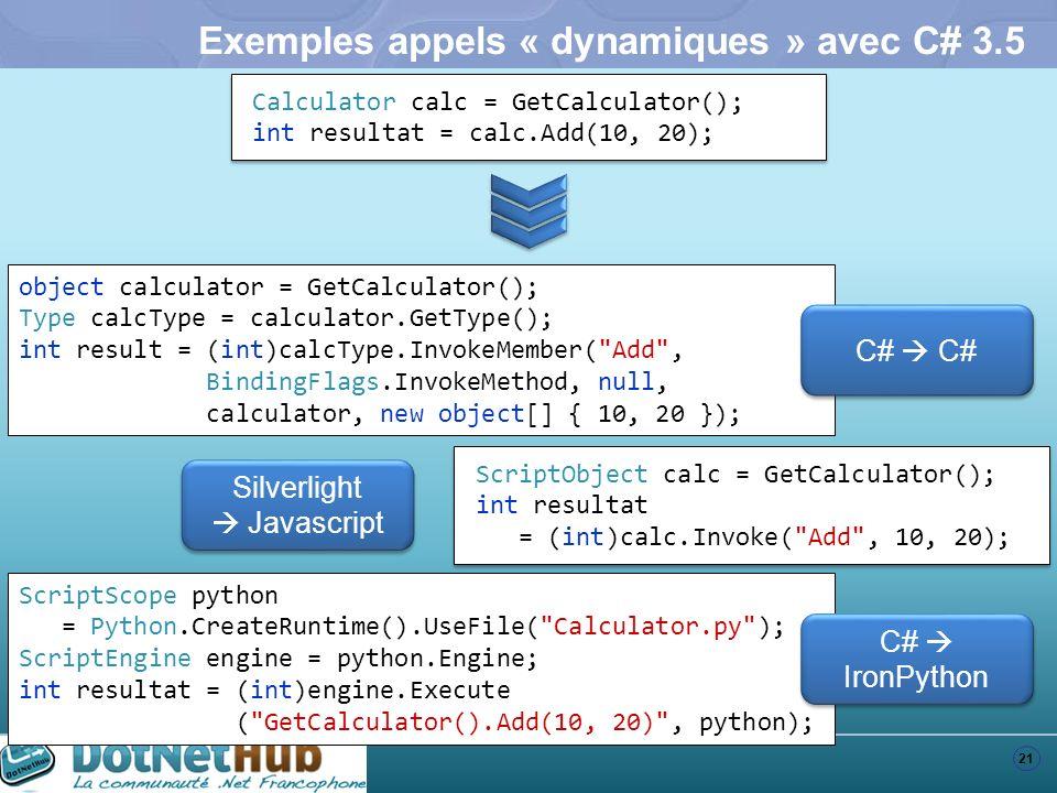 Exemples appels « dynamiques » avec C# 3.5