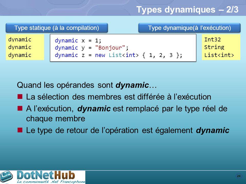 Types dynamiques – 2/3 Quand les opérandes sont dynamic…