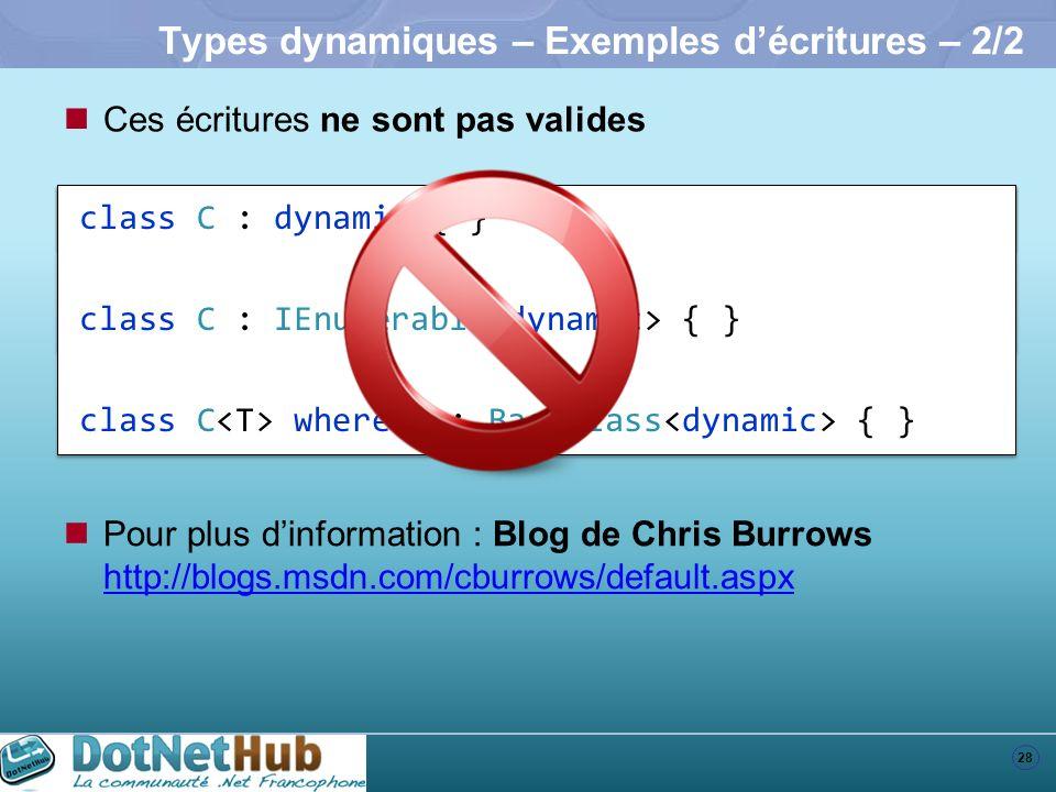 Types dynamiques – Exemples d'écritures – 2/2