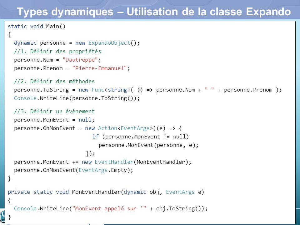 Types dynamiques – Utilisation de la classe Expando