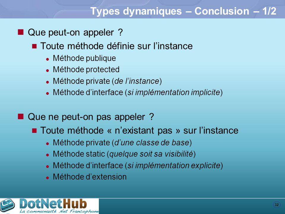 Types dynamiques – Conclusion – 1/2