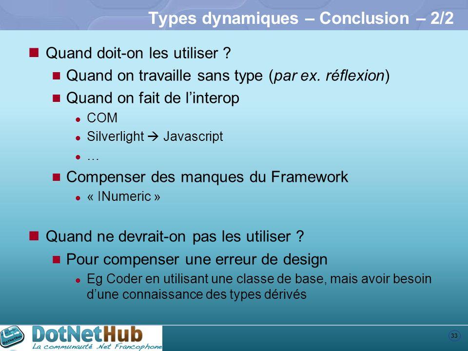 Types dynamiques – Conclusion – 2/2