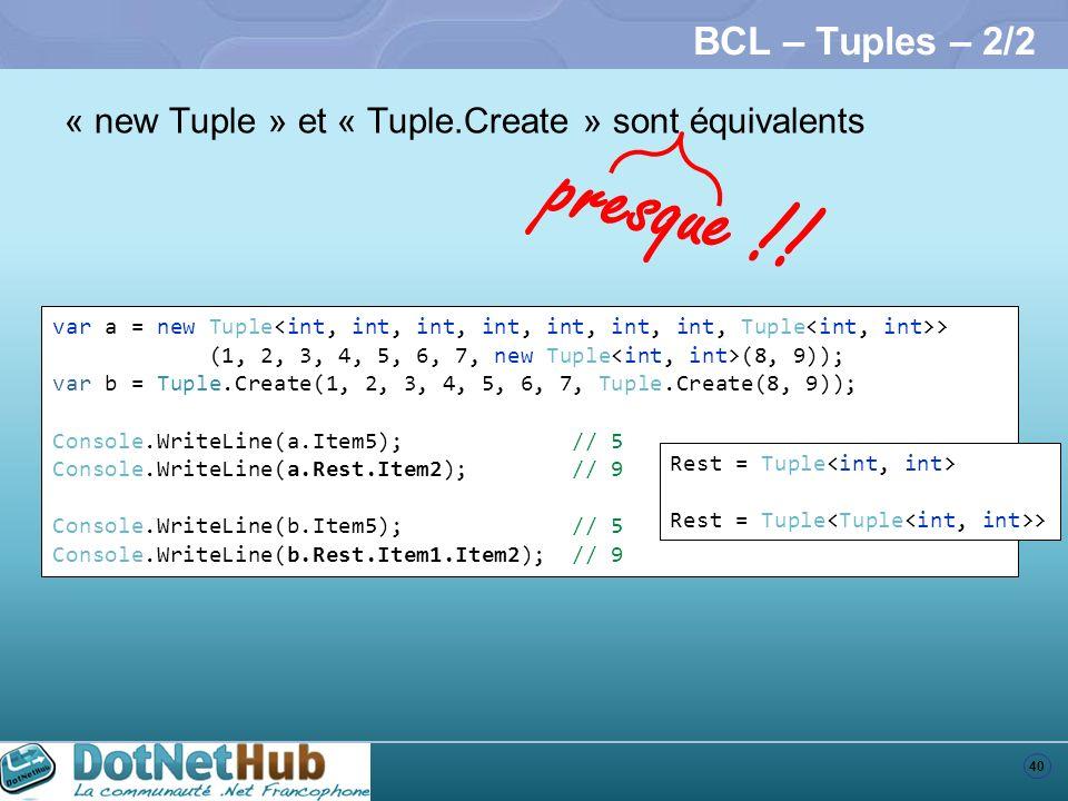 BCL – Tuples – 2/2 « new Tuple » et « Tuple.Create » sont équivalents. presque !!