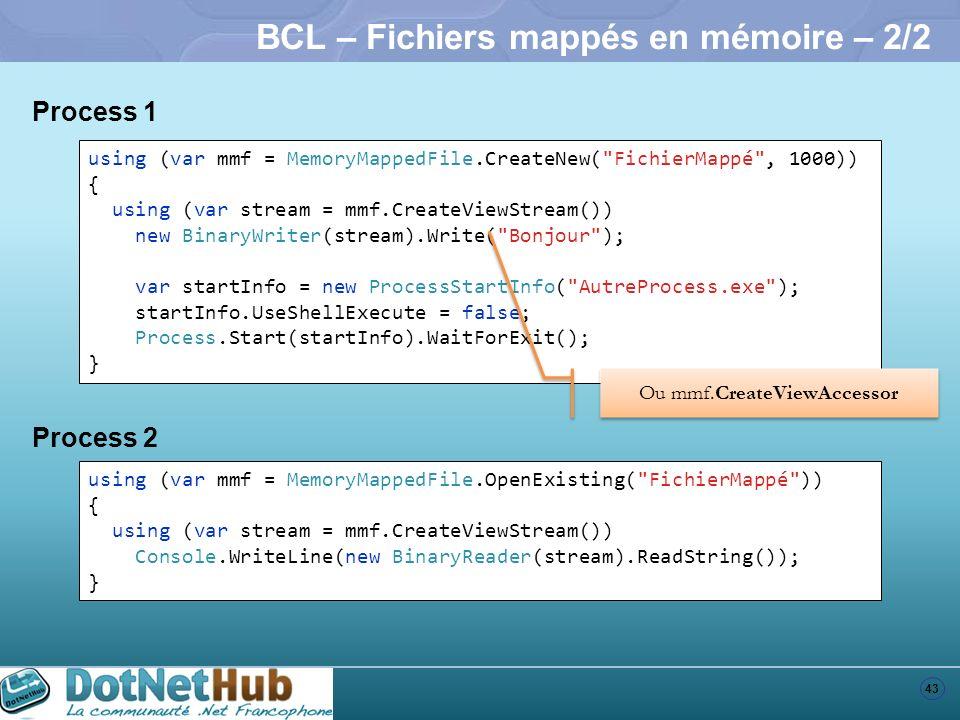BCL – Fichiers mappés en mémoire – 2/2