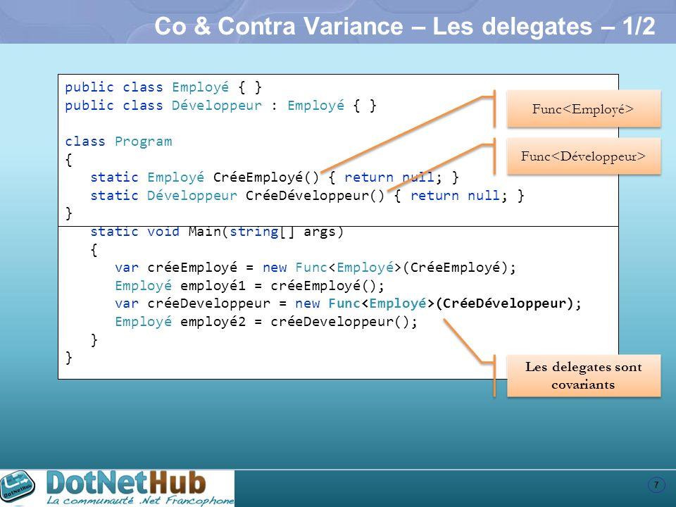 Co & Contra Variance – Les delegates – 1/2