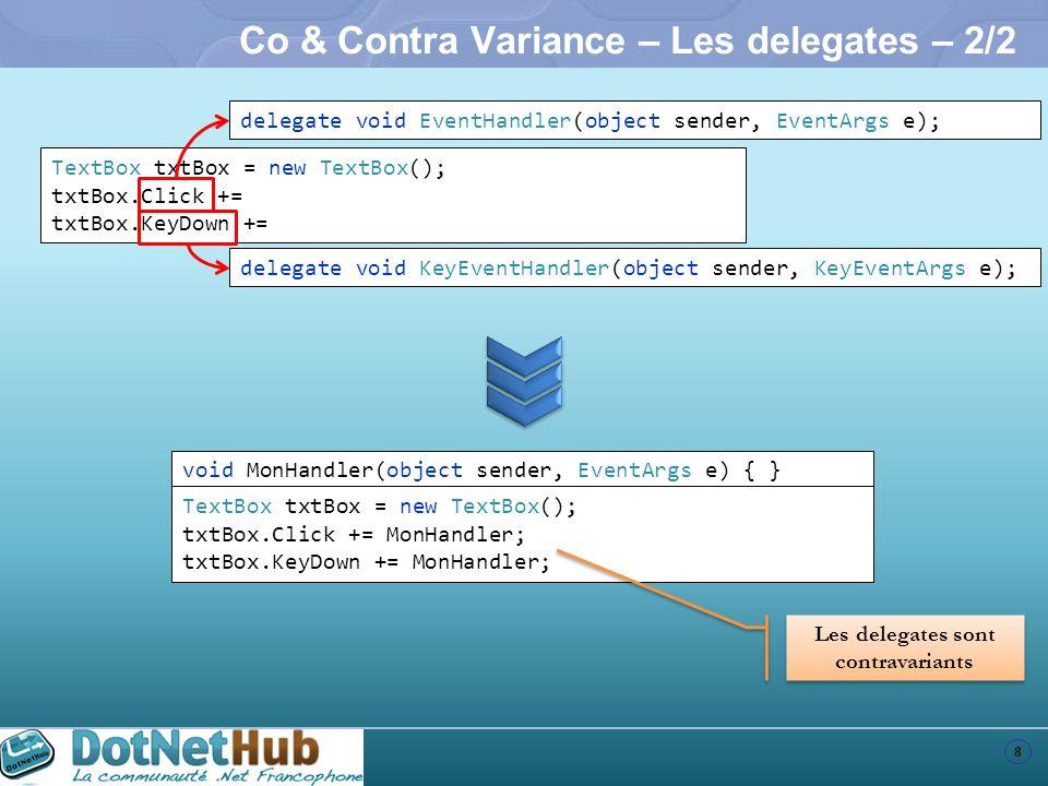 Co & Contra Variance – Les delegates – 2/2