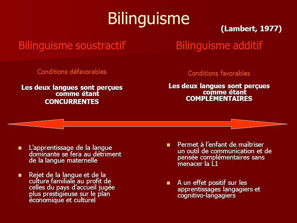 Bilinguisme Bilinguisme soustractif Bilinguisme additif