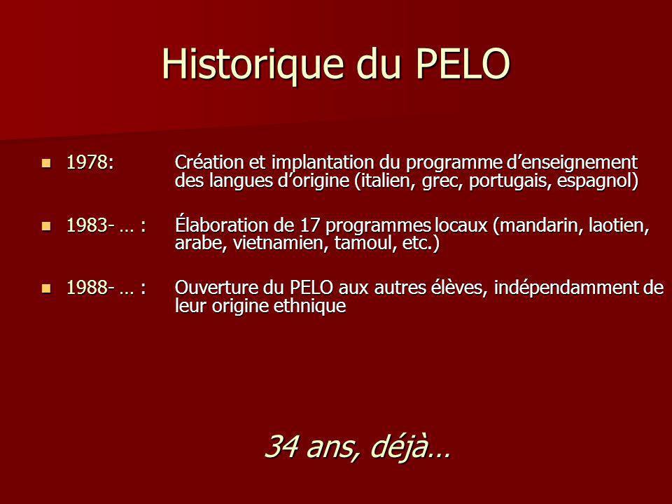 Historique du PELO 1978: Création et implantation du programme d'enseignement des langues d'origine (italien, grec, portugais, espagnol)