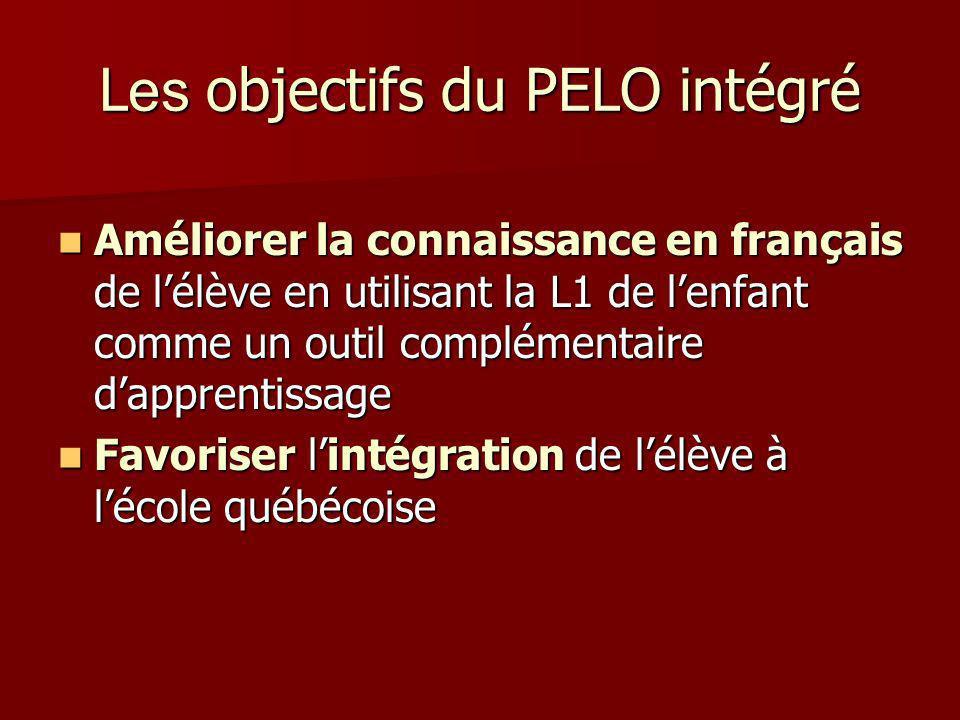 Les objectifs du PELO intégré