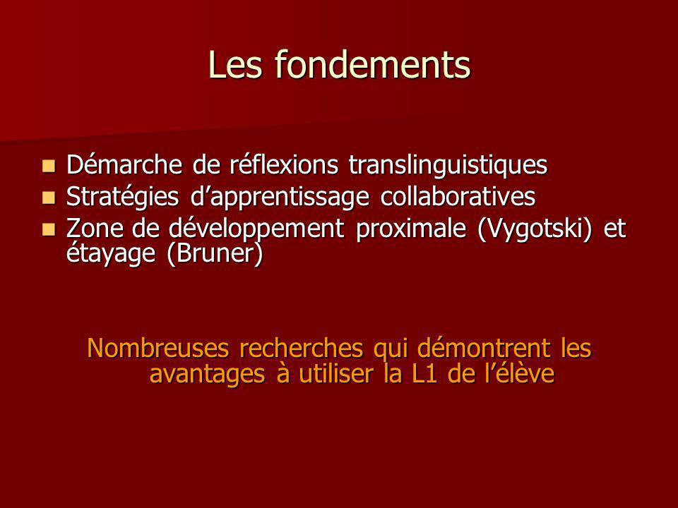 Les fondements Démarche de réflexions translinguistiques