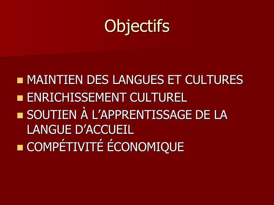 Objectifs MAINTIEN DES LANGUES ET CULTURES ENRICHISSEMENT CULTUREL