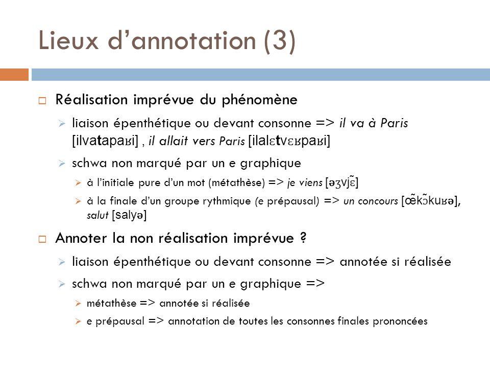 Lieux d'annotation (3) Réalisation imprévue du phénomène