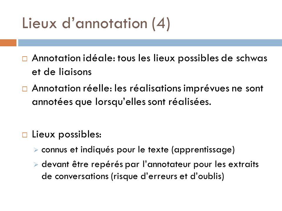 Lieux d'annotation (4) Annotation idéale: tous les lieux possibles de schwas et de liaisons.