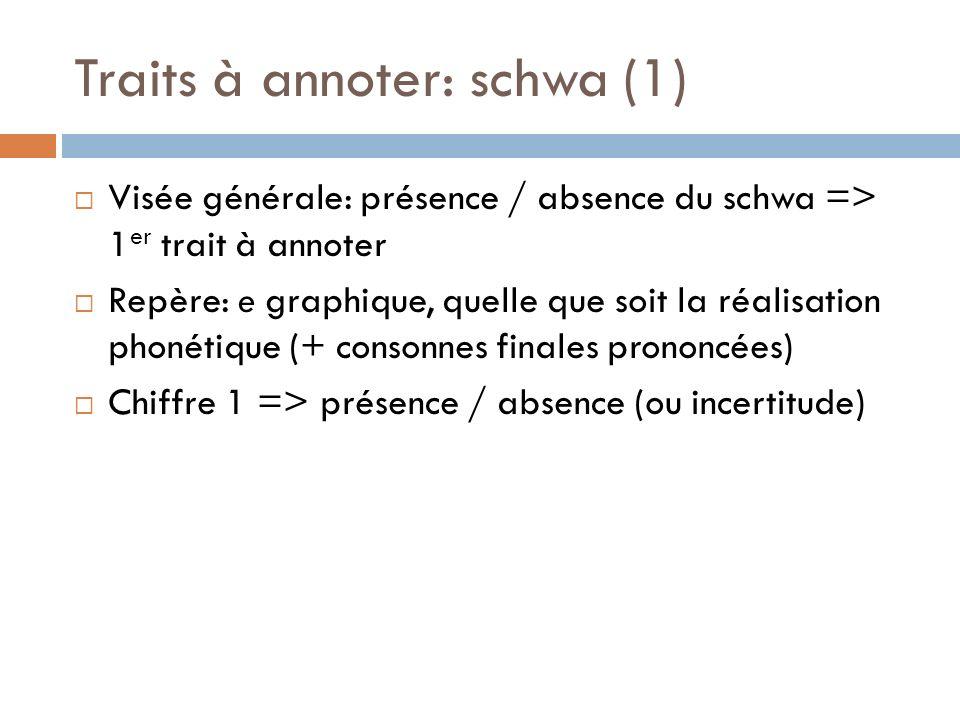 Traits à annoter: schwa (1)