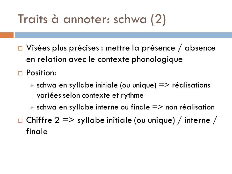 Traits à annoter: schwa (2)