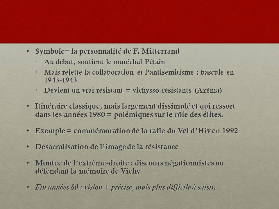 Symbole= la personnalité de F. Mitterrand