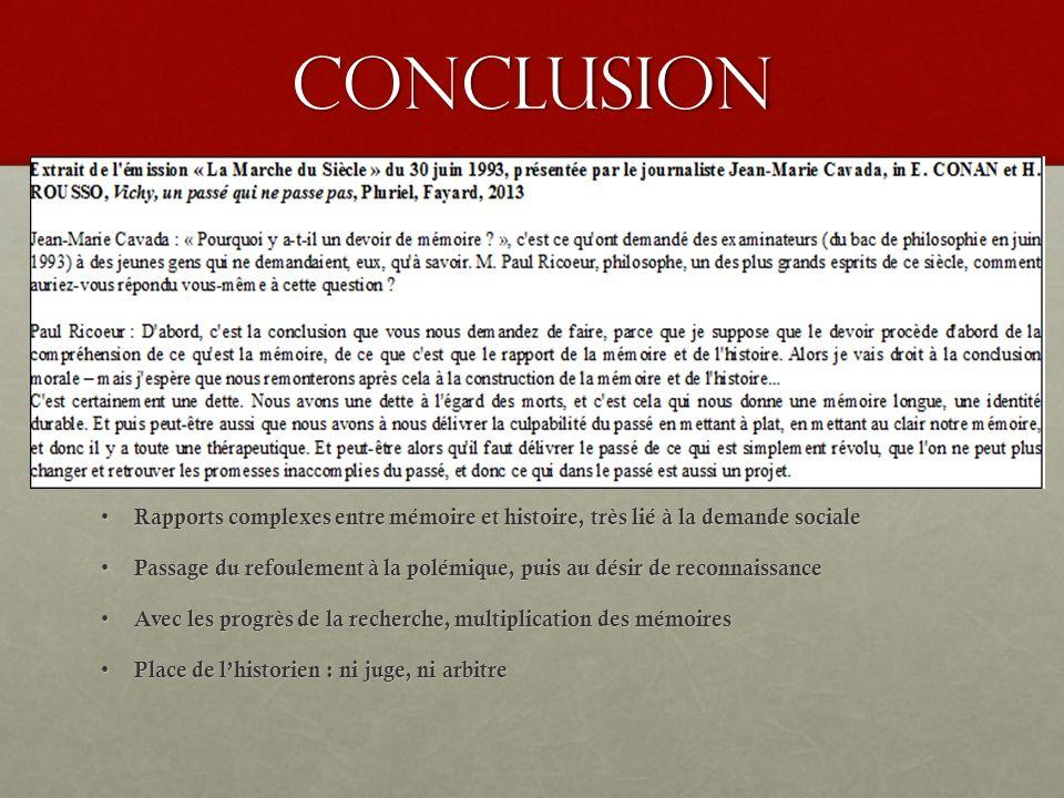 Conclusion Rapports complexes entre mémoire et histoire, très lié à la demande sociale.