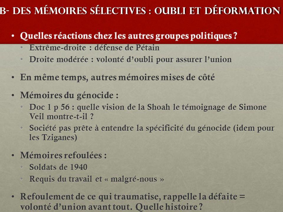 B- des mémoires sélectives : oubli et déformation