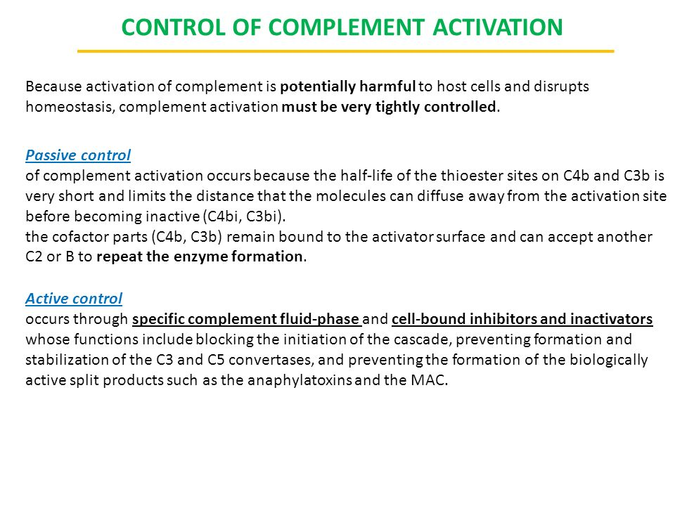 CONTROL OF COMPLEMENT ACTIVATION