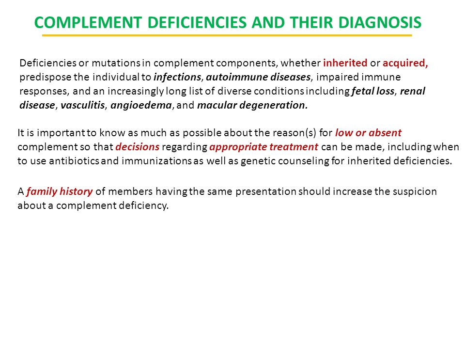 COMPLEMENT DEFICIENCIES AND THEIR DIAGNOSIS
