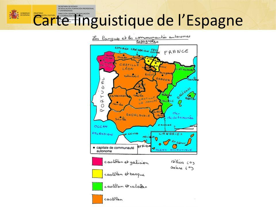 Carte linguistique de l'Espagne le