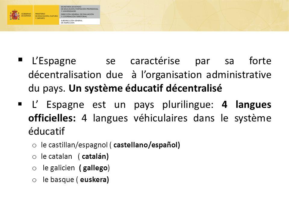 L'Espagne se caractérise par sa forte décentralisation due à l'organisation administrative du pays. Un système éducatif décentralisé