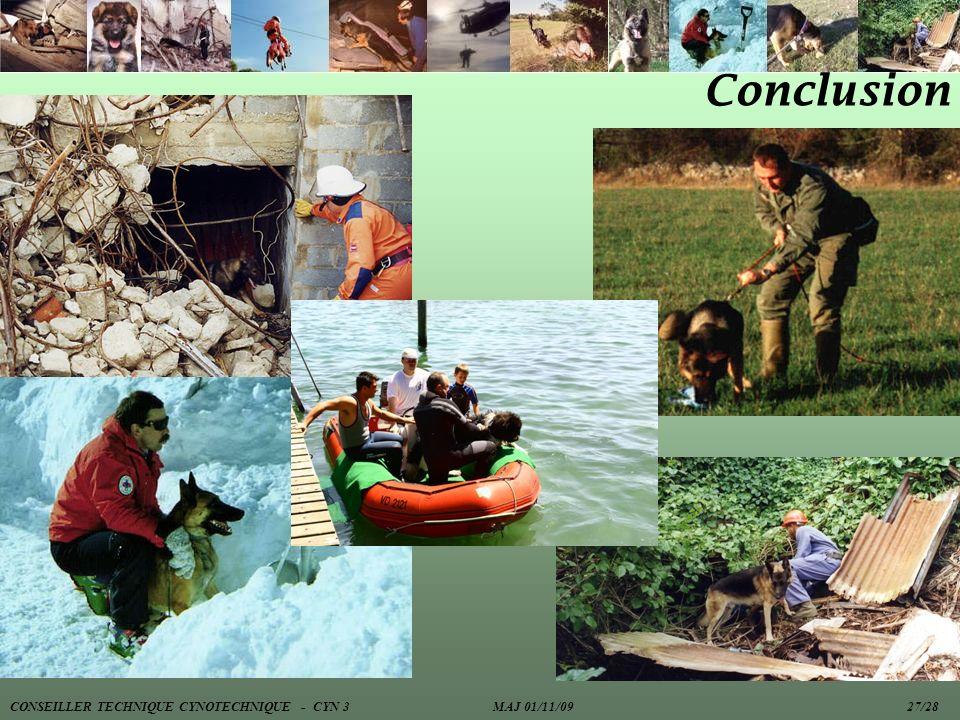 Conclusion CONSEILLER TECHNIQUE CYNOTECHNIQUE - CYN 3 MAJ 01/11/09 27/28.