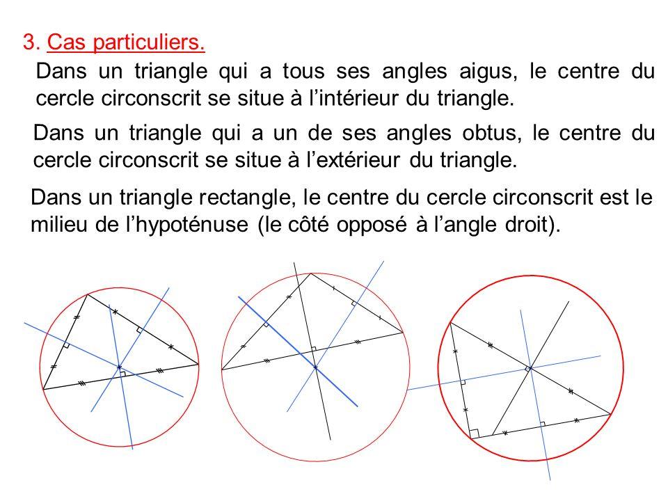 3. Cas particuliers. Dans un triangle qui a tous ses angles aigus, le centre du cercle circonscrit se situe à l'intérieur du triangle.