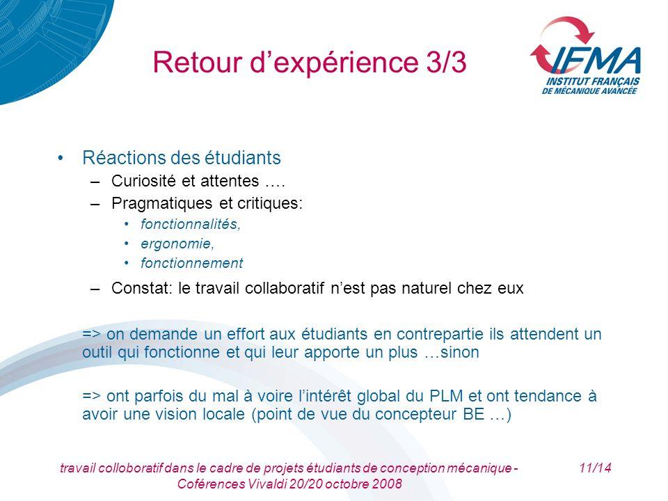 Retour d'expérience 3/3 Réactions des étudiants