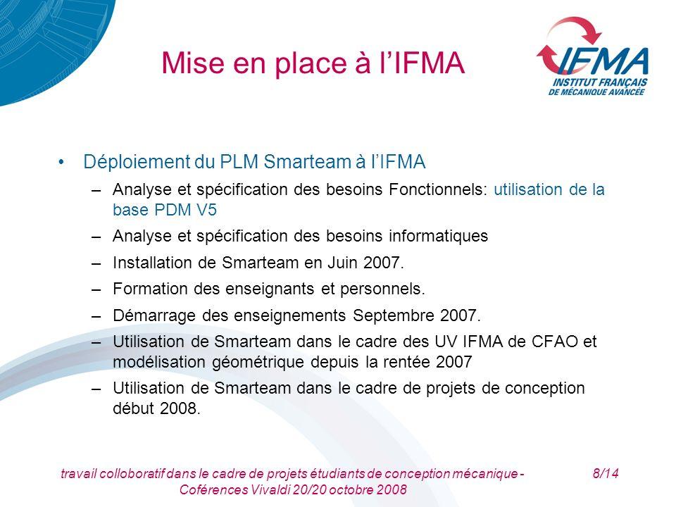 Mise en place à l'IFMA Déploiement du PLM Smarteam à l'IFMA