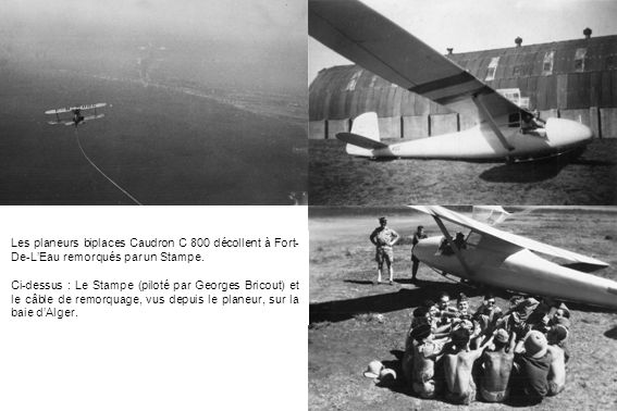 Les planeurs biplaces Caudron C 800 décollent à Fort-De-L'Eau remorqués par un Stampe.