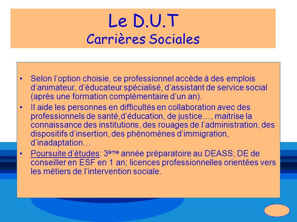 Le D.U.T Carrières Sociales