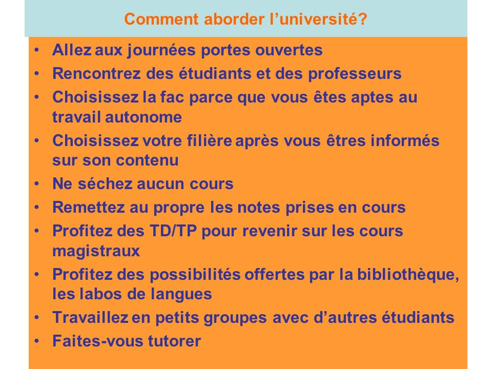 Comment aborder l'université