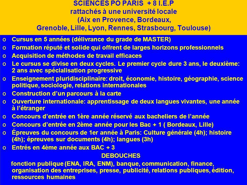 SCIENCES PO PARIS + 8 I.E.P rattachés à une université locale (Aix en Provence, Bordeaux, Grenoble, Lille, Lyon, Rennes, Strasbourg, Toulouse)