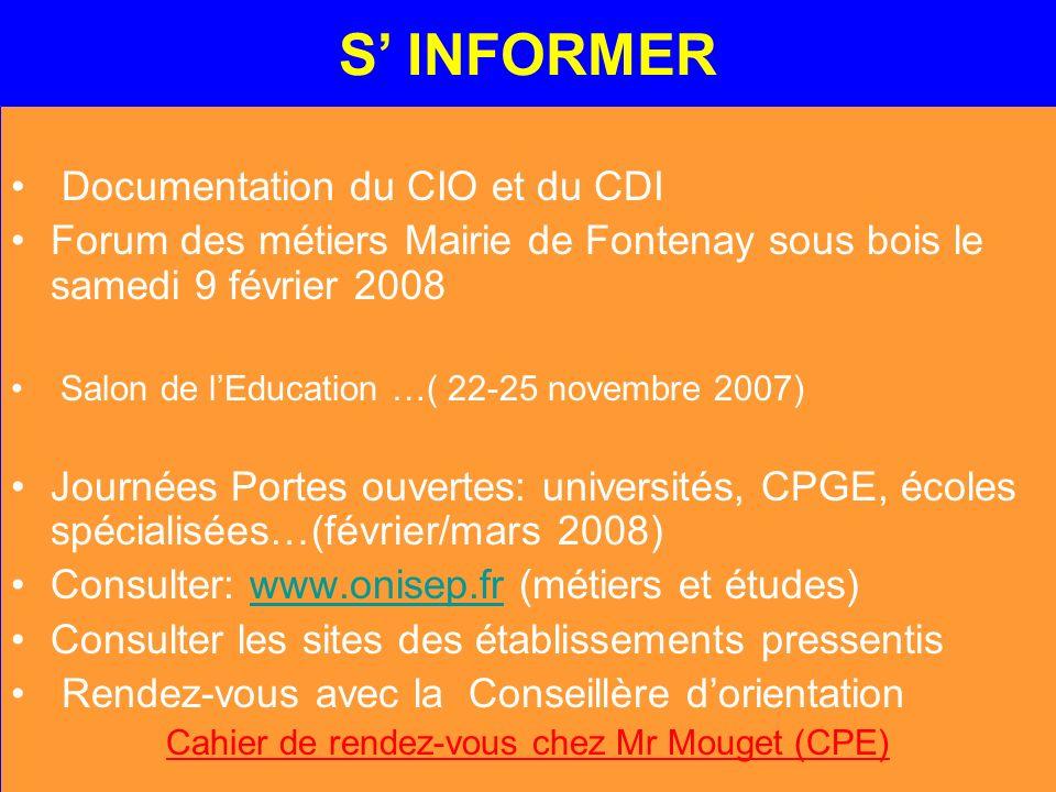 Cahier de rendez-vous chez Mr Mouget (CPE)