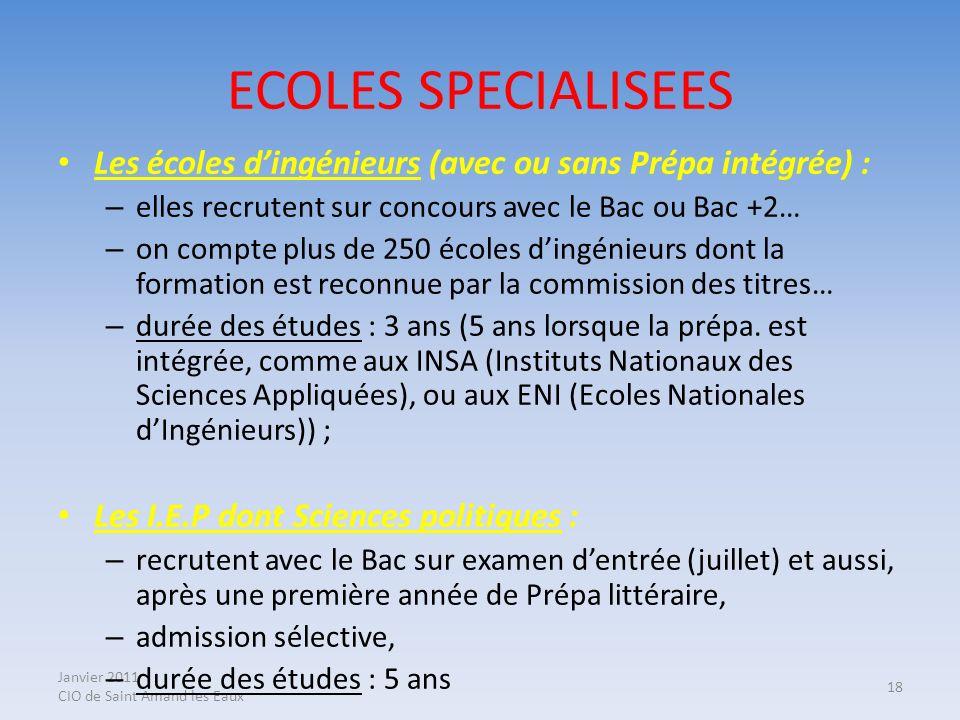 ECOLES SPECIALISEES Les écoles d'ingénieurs (avec ou sans Prépa intégrée) : elles recrutent sur concours avec le Bac ou Bac +2…
