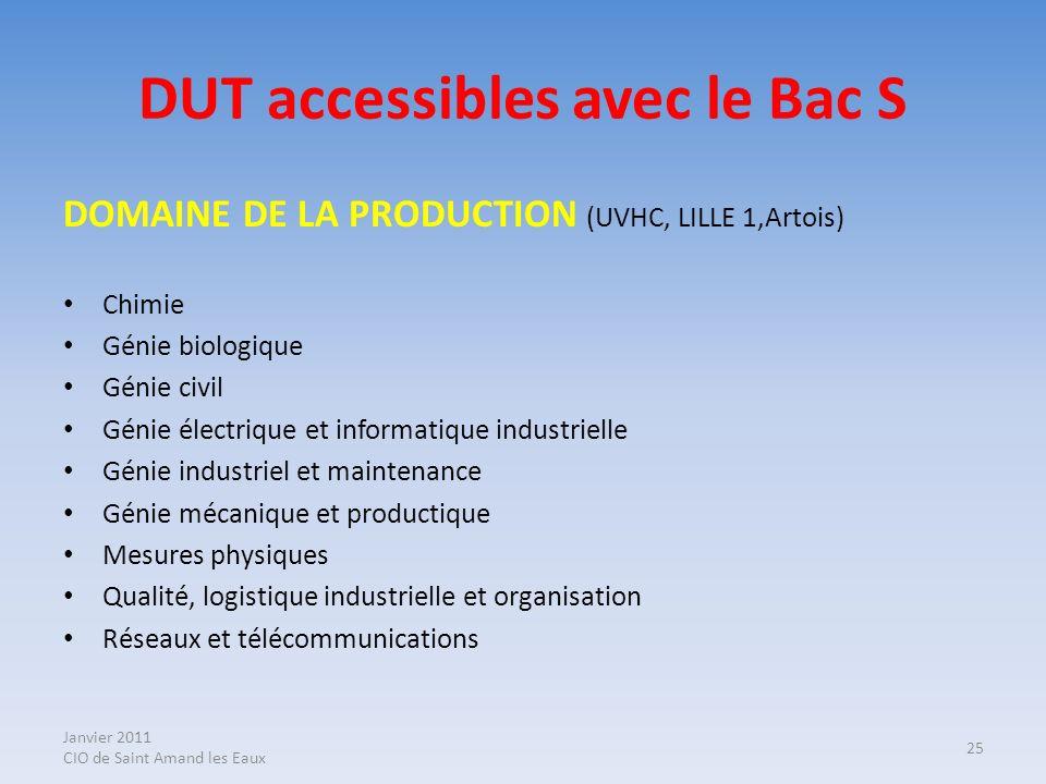 DUT accessibles avec le Bac S